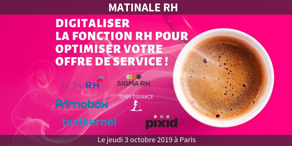 Matinale RH MyRHLine – Digital RH : digitaliser la fonction RH pour optimiser votre offre de service !