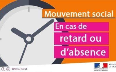 Mouvement social : cas de retard ou absence